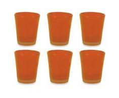 Set 6 Bicchieri Ø8x10,5 Cm In Vetro Villa Deste Cancun Arancioni