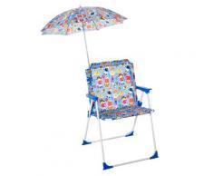 Sedia Mare Spiaggina Pieghevole Per Bambini Con Ombrello In Metallo E Tessuto Multicolore