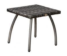 Tavolino Da Giardino 45x45x44 Cm In Rattan Sintetico Grigio