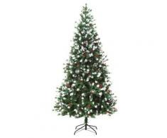 Albero Di Natale Artificiale Innevato 180 Cm 836 Rami Con Bacche Rosse Pino Verde