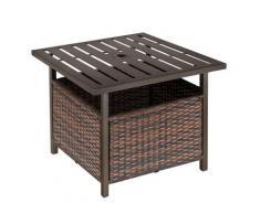 Tavolino Da Giardino 55,5x55,5x46 Cm In Rattan E Acciaio Marrone
