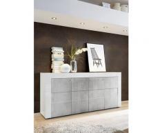 Credenza Mobile Da Salotto 4 Porte 181x42x84cm Tft Build Bianco Lucido E Cemento