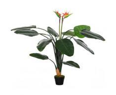 Pianta Artificiale Strelitzia Reginae H155 Cm Con Vaso Verde E Rosso