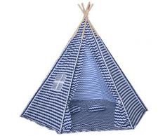 Casetta Tenda Indiana Per Bambini 2x2x1,7m In Poliestere E Legno Blu