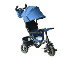 Passeggino Triciclo Per Bambini Con Maniglione E Tettuccio Nero E Blu