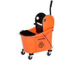 Carrello Pulizie Secchio 36l Con Separatore Acqua E Strizzatore Rimovibile 54x41x91,5 Cm Arancione