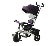 Passeggino Triciclo Per Bambini Con Maniglione E Tettuccio Parasole Deluxe Bianco E Viola