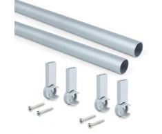 Set 2 Bastoni Appendiabiti Per Armadi Rotondi 95 Cm In Alluminio Emuca Grigio Metallizzato