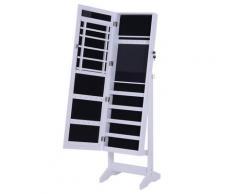 Armadio Portagioie A Specchio Con 20 Luci Led Bianco 40x37x146 Cm