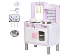 Cucina Giocattolo Per Bambini 55x30x80 Cm In Pino E Mdf Con Accessori Rosa