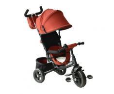 Passeggino Triciclo Per Bambini Con Maniglione E Tettuccio Nero E Rosso