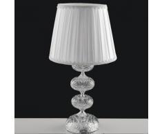 Lampada Da Tavolo Cromata Vetro Cristallo Paralume Tessuto Classica E27 Ambiente I-incanto/lg1