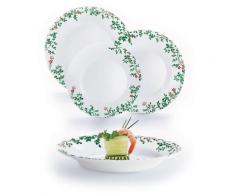 Servizio Piatti 18 Pezzi In Opale Decorato Luminarc Herbier