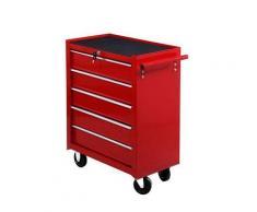 Carrello Da Lavoro Cassettiera Porta Utensili Rosso 67.5x33x77 Cm