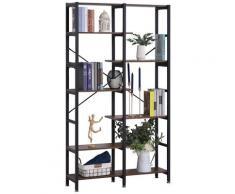 Libreria 6 Ripiani 100x30x182 Cm In Legno E Metallo Nera