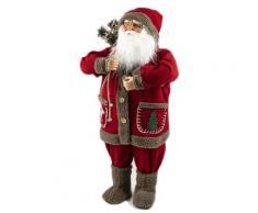 Pupazzo Babbo Natale Luminoso Con Orso 12 Led In Stoffa H80 Cm Soriani Rosso
