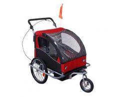 Carrello Per Bici E Passeggino 2 In 1 Rosso E Nero