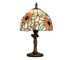 Lumetto Fusto Metallo Paralume Vetro Colorato Floreale Lampada Da Tavolo E14 Ambiente I-dafne-l1