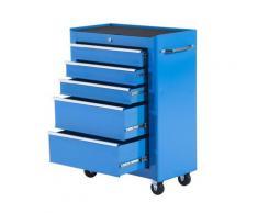 Carrello Porta Utensili Da Officina Con Cassettiera Azzurro 61.5x33x85 Cm