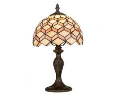 Lume Classico Paralume Vetro Colorato Decoro Geometrico Fusto Metallo Lampada Da Tavolo E14 Ambiente I-liberty-l1