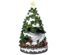 Villaggio Natalizio In Resina Albero Di Natale Con 2 Trenini Luci E Suoni 23x23xh42 Cm Adami