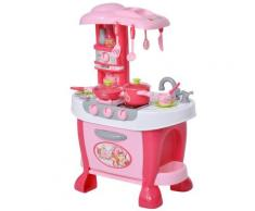 Cucina Giocattolo Per Bambini 51x30x73 Cm Con Utensili Rosa