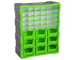 Cassettiera Box Per Accessori Minuteria Verde 38x16x47.5 Cm