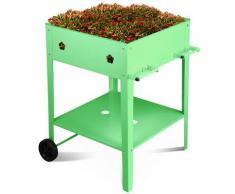 Fioriera Orto Rialzato Da Giardino 57x57x80 Cm In Metallo Con Ruote Verde