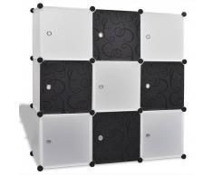 vidaXL Scaffale bianco e nero con cubi 9 scomparti 110 x 37 cm