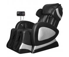 vidaXL Poltrona massaggiante elettrica in ecopelle nera
