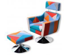 vidaXL Poltrona reclinabile con poggiapiedi colorata