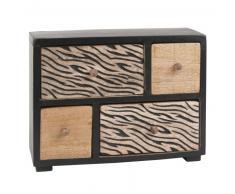 Scatola portaoggetti 4 cassetti in legno di mango motivo zebrato
