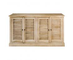 Credenza 4 porte in legno massello di mango sbiancato Cambria