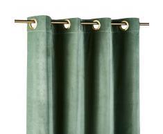 Tenda in velluto verde tiglio con occhielli 140x300 cm
