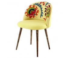 Sedia vintage in cotone ricamato e legno di sheesham giallo Mauricette