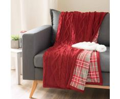 Plaid double face rosso lavorato a maglia 125 x 150 cm SOLDEN