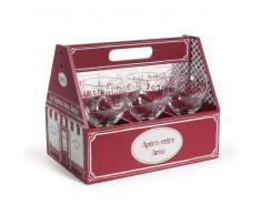 Cestino rosso 6 bicchieri in vetro BISTROT
