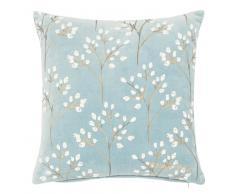 Fodera di cuscino in cotone blu motivi ramoscelli, 40x40 cm