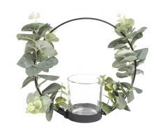 Candeliere in metallo nero e corona di foglie
