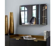 Specchio in metallo nero con mensola, 90x60