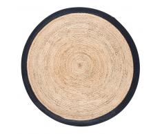 Tappeto rotondo intrecciato in iuta con contorno nero, d. 180 cm