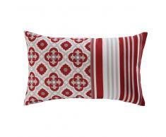Cuscino da giardino rosso in tessuto stampato 30x50cm SAUBRIGES