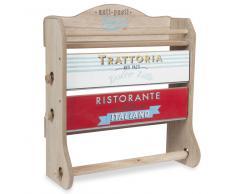 Mensola porta-rotoli da parete in legno H 37 cm TRATTORIA