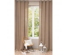 Tenda color talpa in lino slavato con occhielli 130 x 300 cm
