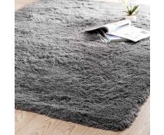 Tappeto grigio in tessuto a pelo lungo 160 x 230 cm INUIT