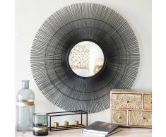 Specchio rotondo nero in metallo D 70 cm DAMARA
