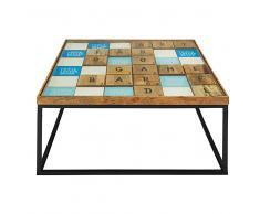 Tavolino basso in legno massello di mango e vetro Scrabble