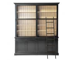Libreria nera in pino massiccio con scala Versailles