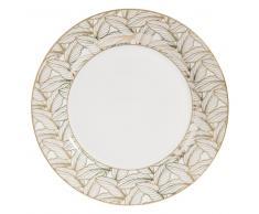 Piatto piano bianco con motivi a foglie in porcellana