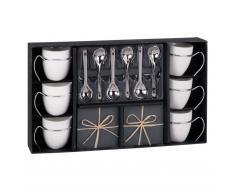 Set 6 tazze da caffè con piattini in porcellana + cucchiaini ARDOISE